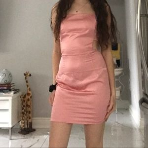 PLT Rose Satin Cut Out Side Bodycon Dress